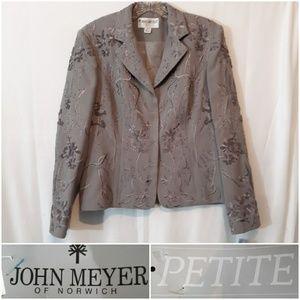 John Meyer Embroidered Suit Jacket